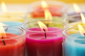 coloured bath ritual candles